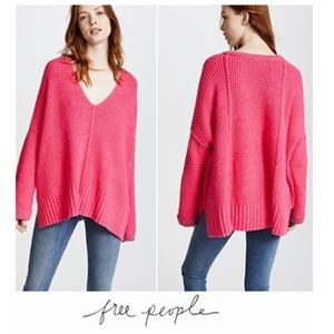 Free People Pink Oversized Take Me Over Sweater